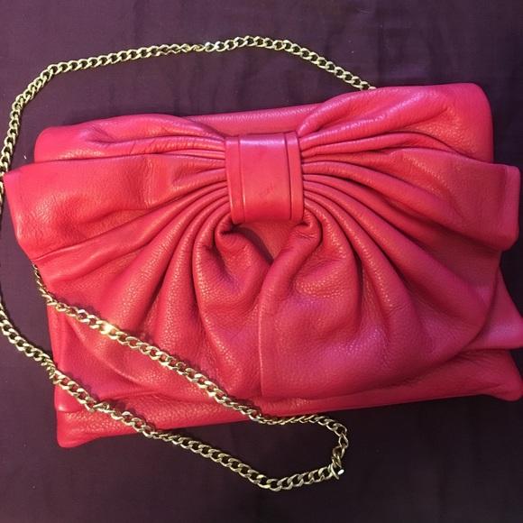 Valentino Handbags - Valentino Red crossbody or clutch leather handbag